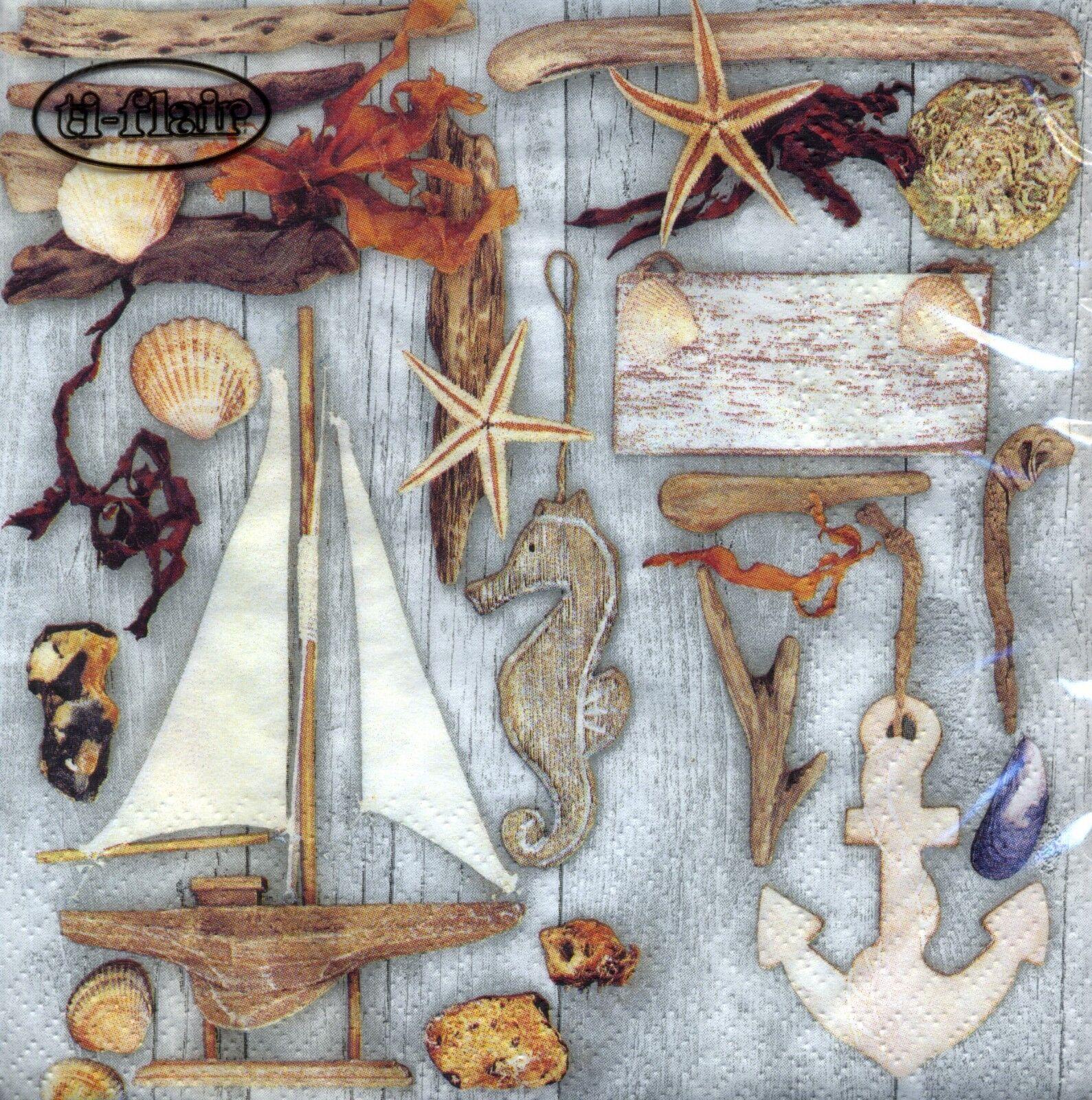 4 Lunch Paper Napkins Decoupage Craft Vintage Napkin Sea Driftwood For Sale Online Ebay