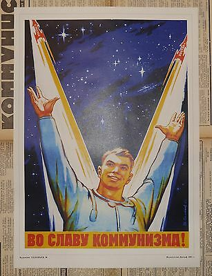 Soviet Space Propaganda Poster IN THE NAME OF PEACE AND PROGRESS A3 PRINT !