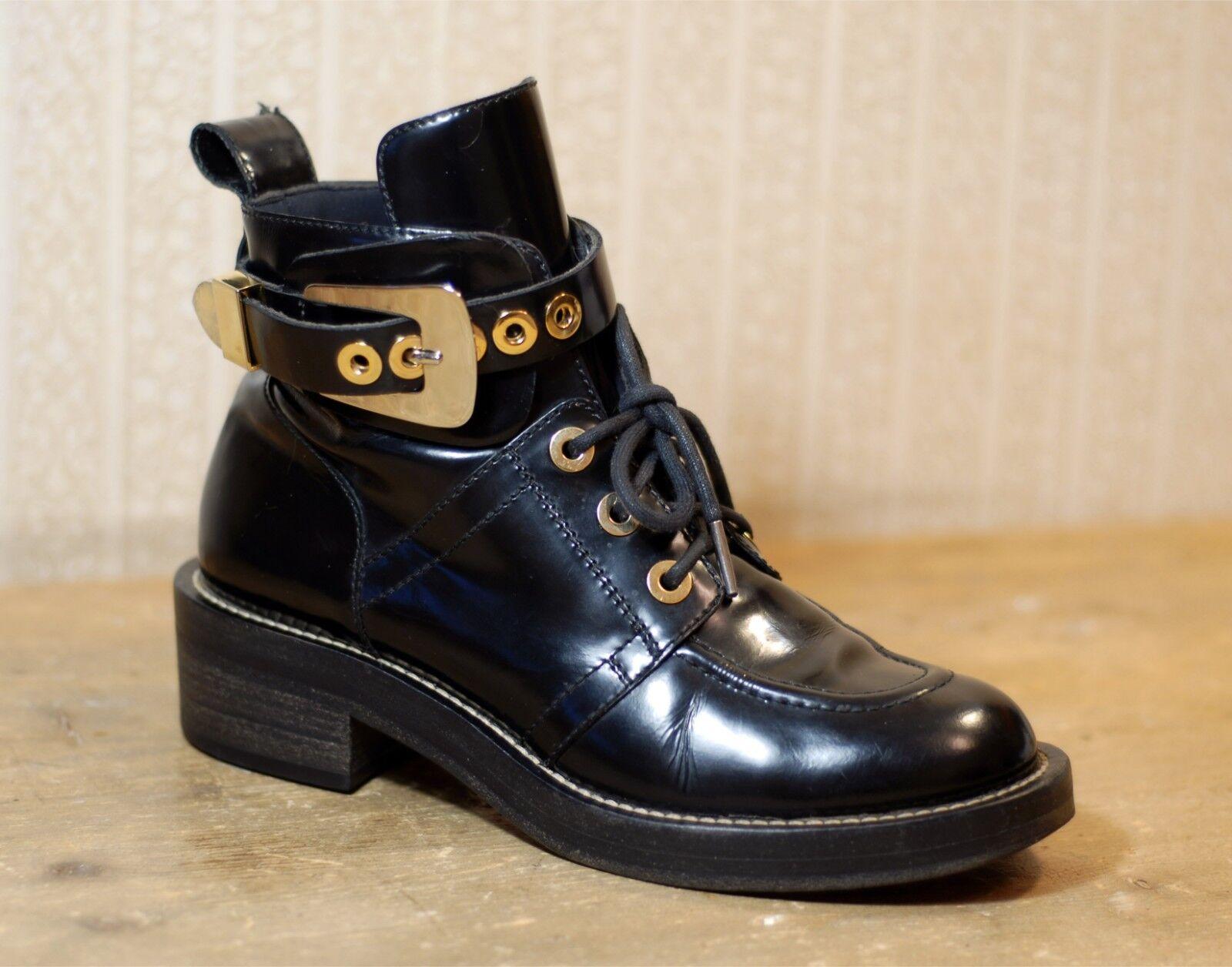 1500  BALENCIAGA Ceinture black gold laceup NO cut out boots 38-38.5 5-5.5 7-7.5