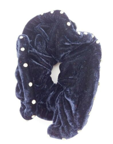 NAVY BLUE VELVET CRYSTAL STONE SCRUNCHIES SOFT ELASTIC HAIR ACCESSORIES VA197B
