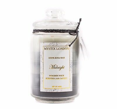 Sporting Mystix London Minuit En Bois éloigner Bougie Parfumée 440g candlargsobmidn For Fast Shipping