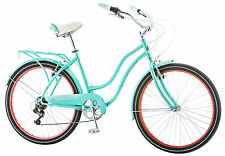 Schwinn 26 inches Women's Perla 7 Speed Cruiser Bike Bicycle - Light Blue/Red