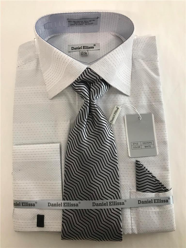 Men's Daniel Ellissa Pin Head French Cuffs White Dress Shirt Tie,Hanky DS3797P2