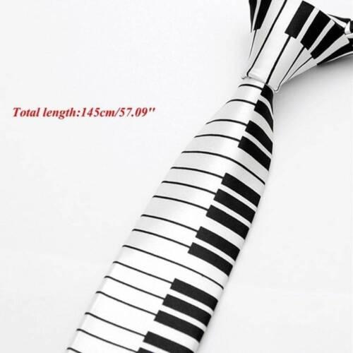 1pc Men/'s Black /& White Piano Clavier Tie Cravate Casual Classic Slim Musique Cravate