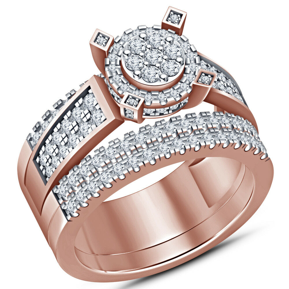 Ladies 10K pink gold Over Round Solitaire Diamond Engagement Ring Bridal Set 2ct