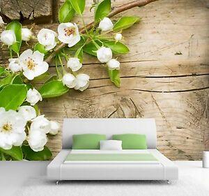 vlies xxl poster fototapete tapete natur blumen apfel bl te in wei auf holz ebay. Black Bedroom Furniture Sets. Home Design Ideas