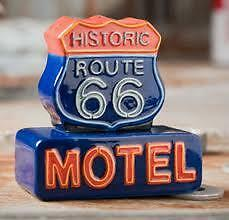 Salt & Pepper Shaker...route 66...motel Sign...one Of A Kind