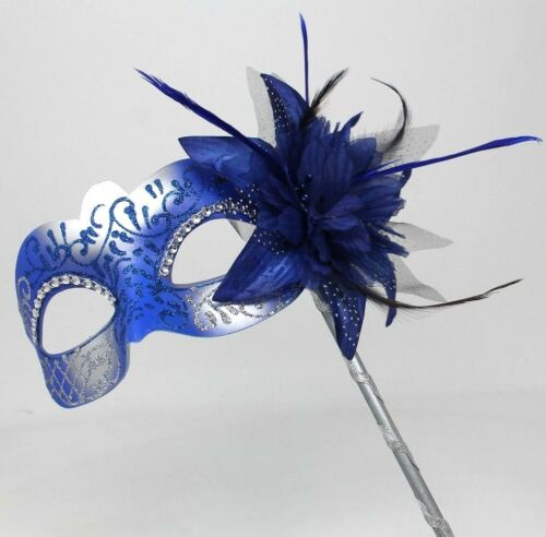 STUNNING BLUE /& SILVER VENETIAN MASQUERADE PARTY EYE MASK ON A HAND HELD STICK