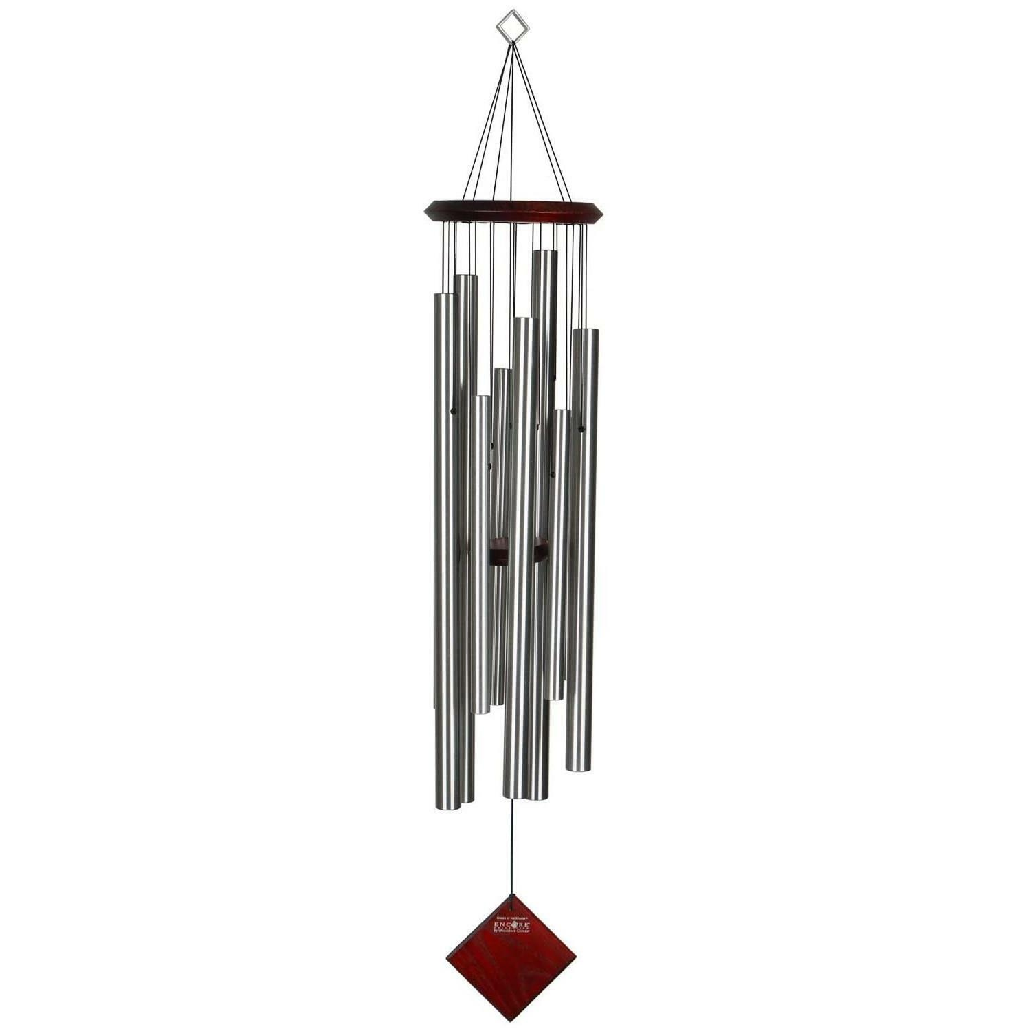 Woodstock Encore Chimes Of Eclipse Silver 102cm Large Tuned Musical Windchime