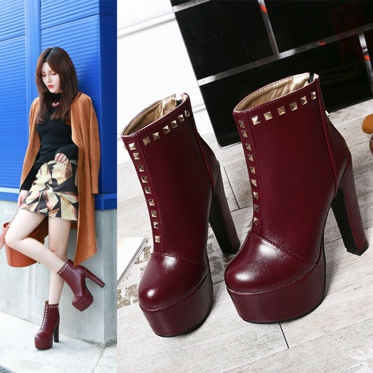 Womens Rivet Round Toe High Platform Block Heels Back Zipper Ankle Boots Party