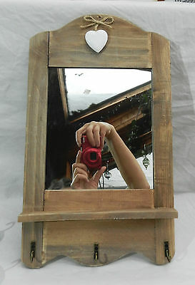 Wall Hanging Wooden Framed Mirror with Three Hooks -  Shabby Chic - BNIB