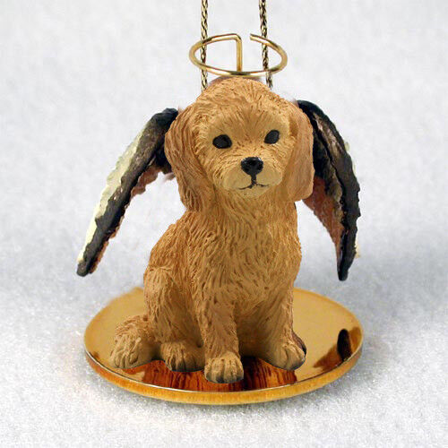 GOLDEN DOODLE Dog ANGEL Ornament HAND PAINTED Resin Figurine Christmas puppy