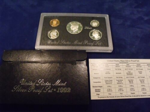 1992 UNITED STATES MINT SILVER PROOF SET IN ORIGINAL CASE AND BOX