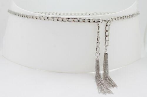 Damen Silber Metal Lang Fransen 2 Vordere Troddel Ketten Gürtel Schmal Bund M L