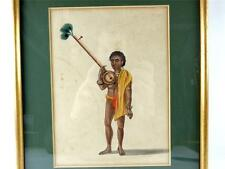 ANTIQUE INDIAN COMPANY SCHOOL WATERCOLOURS MUSICIAN BARD EKTARA PLAYER