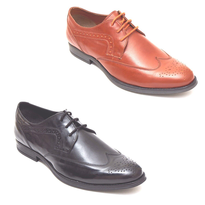 Mens Leather Brogue Classic Oxford Tan Shoe - Black & Tan Oxford 177677