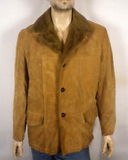 vtg 60s Sears The Leather Shop Suede Marlboro Jacket Coat Faux Shearling 42