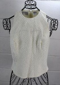 OLEG-CASSINI-Black-Tie-Vintage-Ivory-Off-White-Beaded-Sleeveless-Zipper-Top-6
