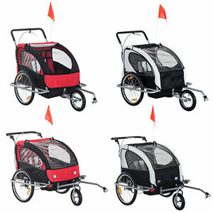 2-Seater-Child-Bike-Trailer-Kids-Carrier-Safety-Harness-Baby-Stroller-Jogger
