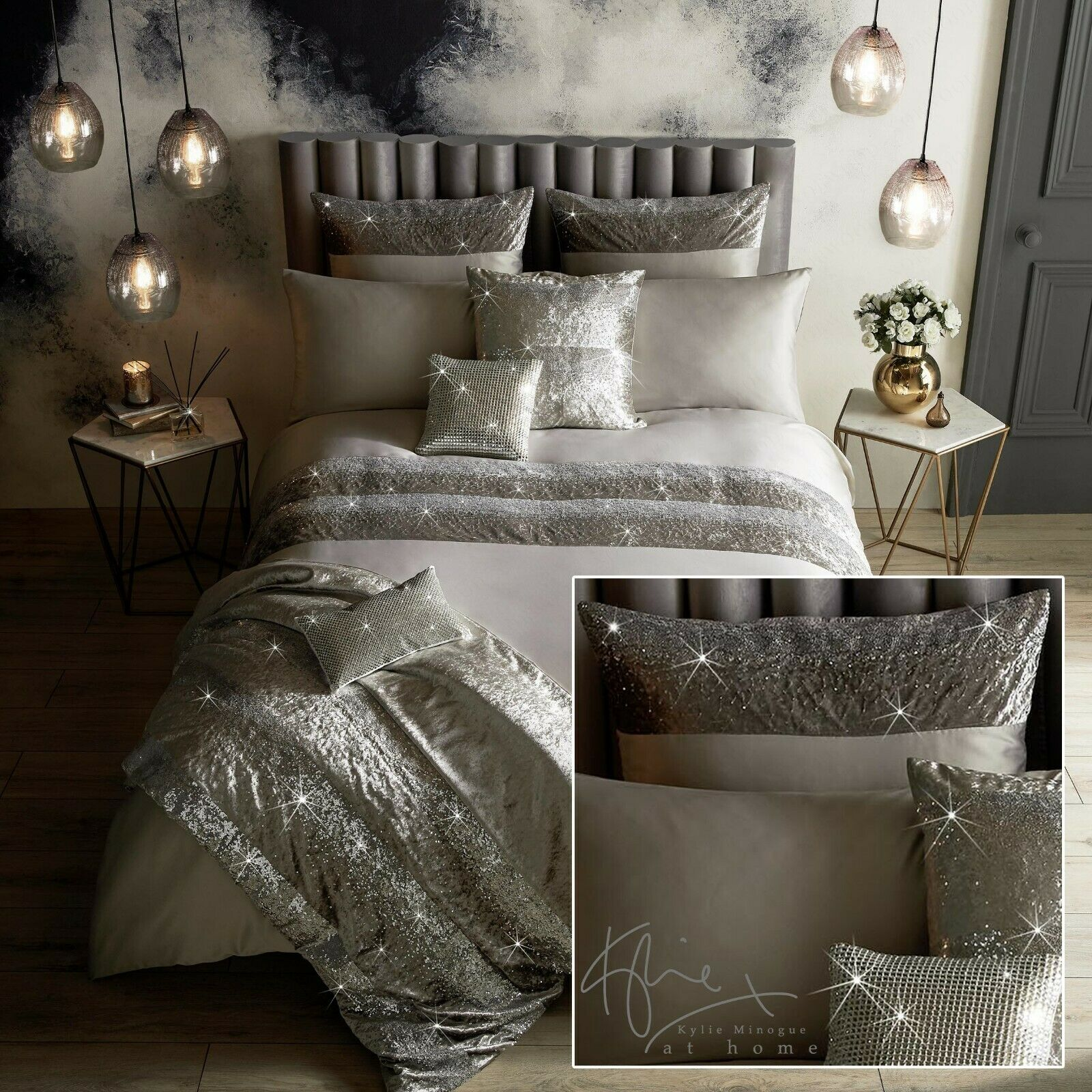 Kylie Minogue Bedding SKYLA Silber Duvet   Comforter Cover, Cushions or Throw