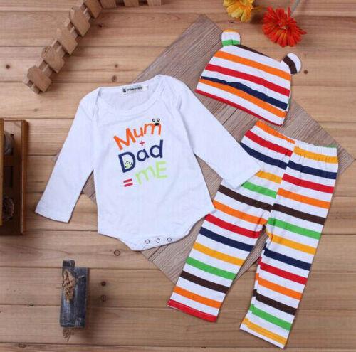 3pcs Baby Boys Girls Kids Newborn Hat+Romper+Pants Trousers Outfit Clothing Set