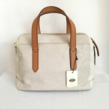 FOSSIL Sydney Satchel Ivory Linen Leather ZB5486 NEW NWT RARE COLOR *RETIRED*