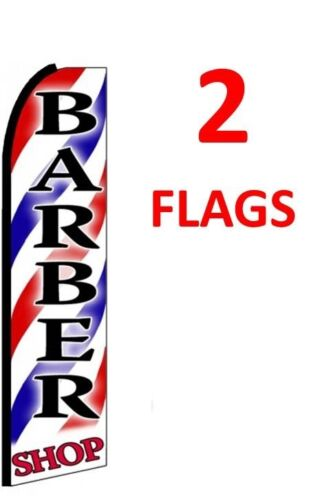 2 BARBER SHOP red//wh//bl1 11.5/' SWOOPER #1 FEATHER FLAGS BANNERS two