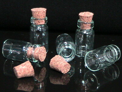 10 Small Glass Bottles / Vials With Cork  18mm x 10mm Storage Dainty New R108