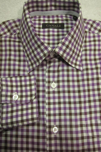 GORGEOUS Canali Purple and Brown Gingham Plaid Shi