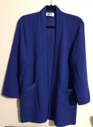 Vintage pour John bleu en royal St tricot taille Cardigan S femmes Rwq7Ifx