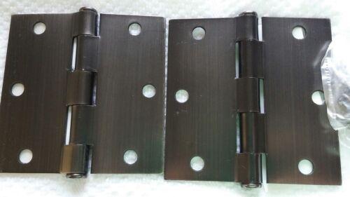 "Emtek Steel Plain Bearing Hinges 3 1//2/"" x 3 1//2/"" x 2.2mm Pewter 9101351A SqCr"