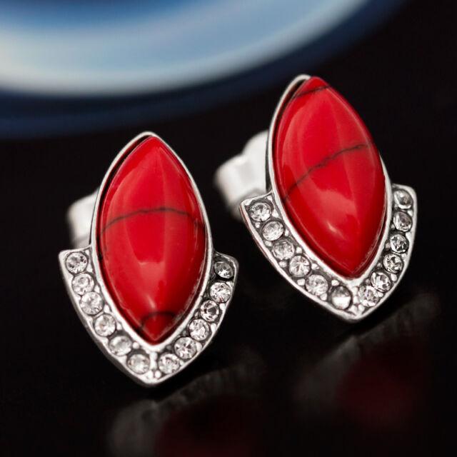 Koralle und Zirkonia Silber 925 - Ohrstecker Ohrringe Ohrhänger