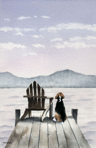 "BEAGLE ART PRINT /""Patiently Waiting/"" 8.5 x 11 Art Print by Artist DJR"