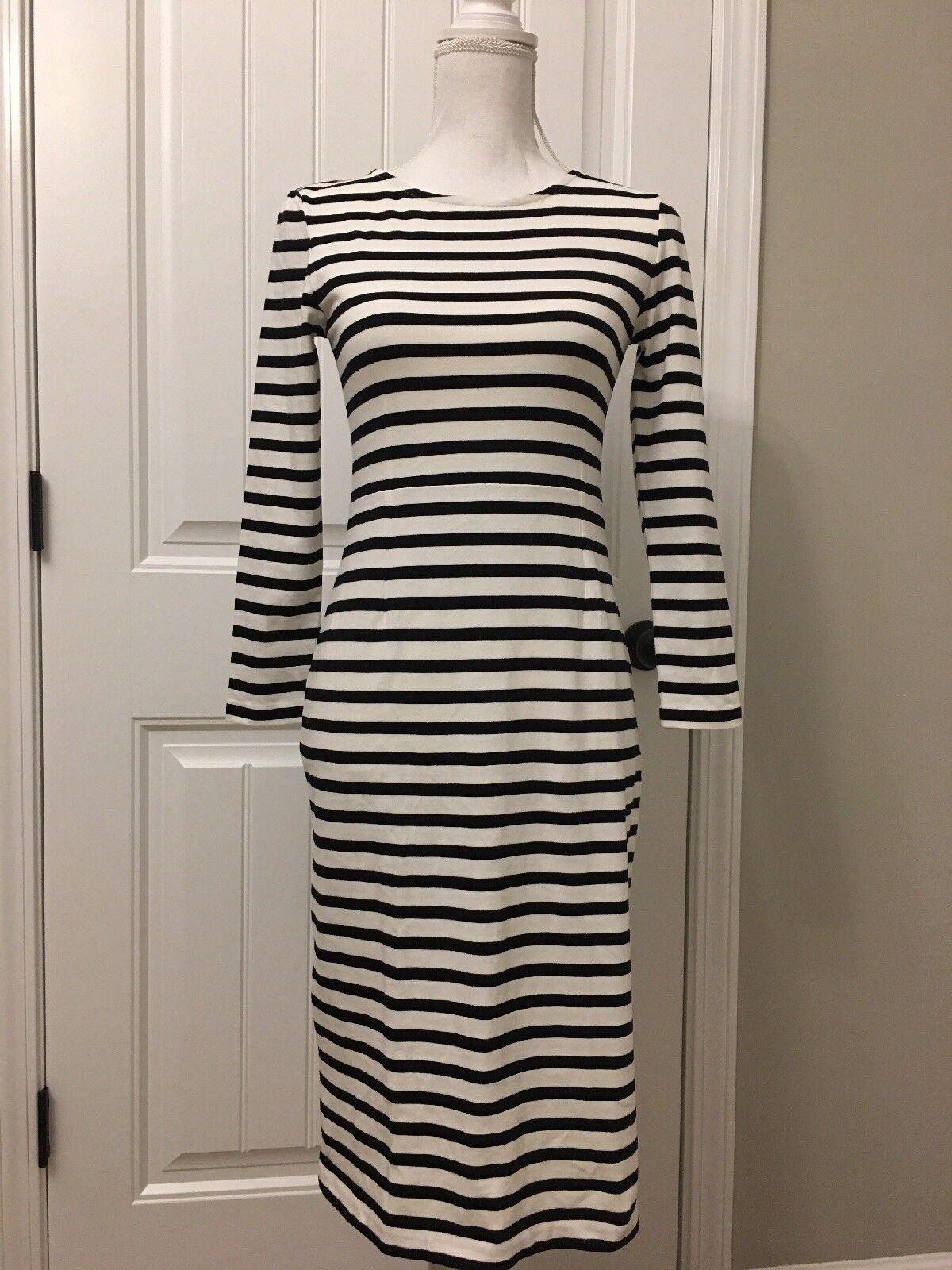 New J Crew Petite Long-sleeve Striped Dress Weiß schwarz Sz 2P G8837