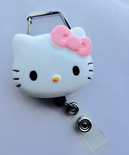 """Hello Kitty 45mm / 1.9"""" Carabiner Retractable Reel ID Badge Holder_Pink Bow 1pc"""