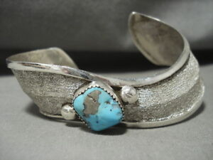 UNIQUE-SWIRLING-STERLING-SILVER-NAVAJO-PYRITE-TURQUOISE-SILVER-BRACELET