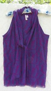 Sweet-Pea-Knit-Top-Misses-L-Purple-Fuchsia-Green-Tie-Front-Project-Runway