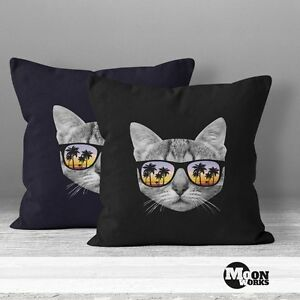 kissenbezug katze mit sonnenbrille kissen h lle 40x40 baumwolle moonworks ebay. Black Bedroom Furniture Sets. Home Design Ideas