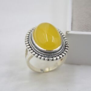 New-925-Sterling-Silver-with-26mm-Oval-Yellow-Chalcedony-Unisex-Ring-Size-5-9