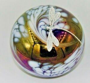 Ambitieux Neo Art Verre Violet Blanc Paperweight Sterling Silver Dragonfly Signe K. Heaton-afficher Le Titre D'origine