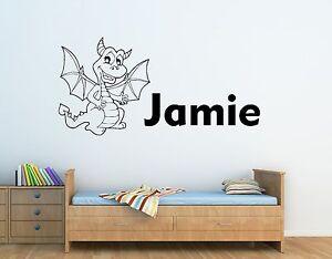 GéNéReuse Personnalisé Garçons Nom & Friendly Dragon Wall Art Autocollant-enfants Chambre à Coucher-afficher Le Titre D'origine Style à La Mode;
