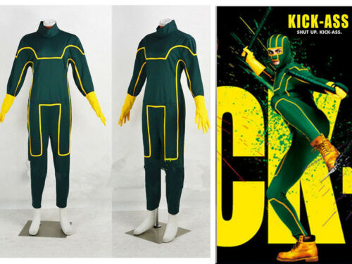 Kick-Ass Men/'s Costume Green Jumpsuit Cosplay Kick-Ass Dave Lizewski costume