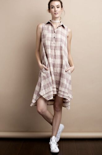 NEW tan rose Crinkled Cotton Check Swing Tunic Dress pleated button placket S