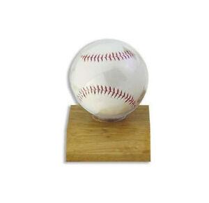 ULTRA PRO BASEBALL HOLDER, LIGHT WOOD BASE baseball display case on base/stand