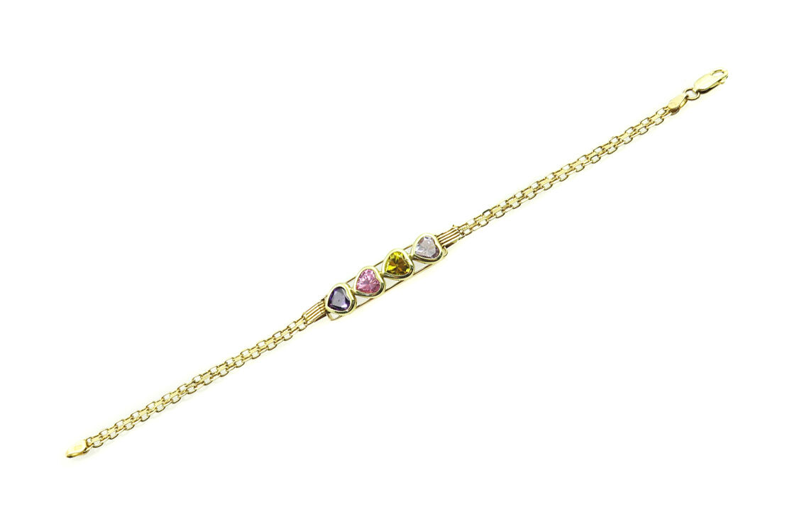 14k Yellow gold Women's Bracelet With Heart Shaped color Stones