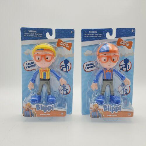 Lot of 2 NEW Zag Toys Blippi Bendables Figure Construction Blippi YouTube