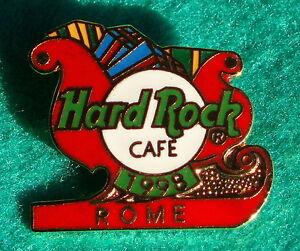 Roma-Italia-Navidad-Santa-Claus-Rojo-Trineo-1998-Presents-Hard-Rock-Cafe-Pin