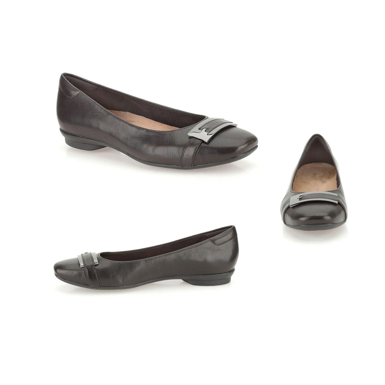 LADIES Damenschuhe BLACK CLARKS CANDRA GLARE WIDE COMFORTABLE FLATS WORK CASUAL Schuhe