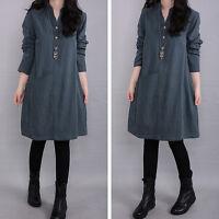 Women Long Sleeve Cotton Linen Shirt A-line Long Maxi Cotton Loose BOHO Dress