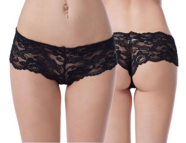 Damen Brazilian Panty Schwarz Spitzen Unterhose Gogo Blumen Tanga Dessous S-XL